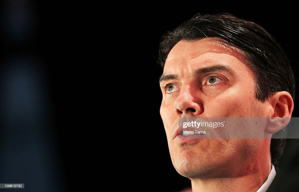 Tim Armstrong speaks at the TechCrunch Disrupt Conference at St. John�s Center Studio May 25, 2010 in New York City. The conference gathers innovators who are attemtping to disrupt media and technology in internet enabled industries.