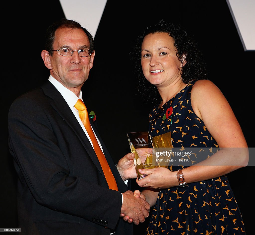 Tim Bailey, Marketing manager of Continental presents Nicky Davies of Liverpool LFC with the 'Goalkeeper of the Year' award during the FA Women's Awards 2012 at the Waldorf Hilton on November 2, 2012 in London, England.