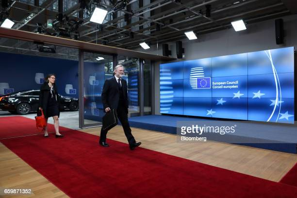 Tim Barrow UK permanent representative to the European Union arrives at the European Council in Brussels Belgium on Wednesday March 29 2017 The UK...