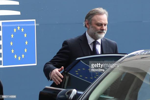 Tim Barrow UK permanent representative to the European Union leaves the European Council after delivering the letter that invoked Article 50 of the...