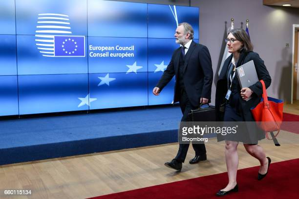 Tim Barrow UK permanent representative to the European Union left leaves the European Council after delivering the letter that invoked Article 50 of...