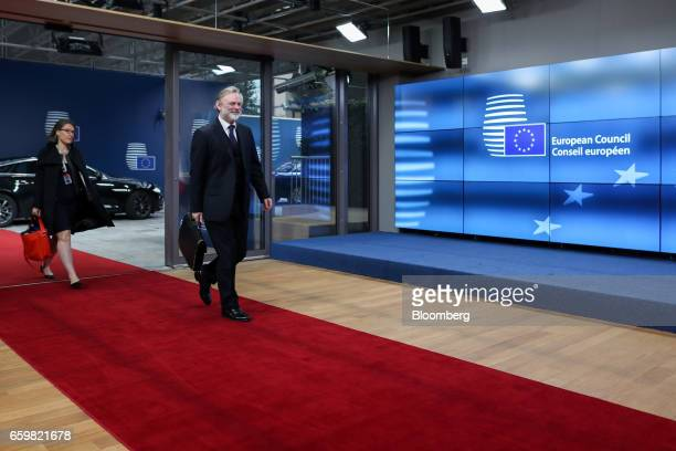 Tim Barrow UK's permanent representative to the European Union arrives at the European Council in Brussels Belgium on Wednesday March 29 2017 The UK...