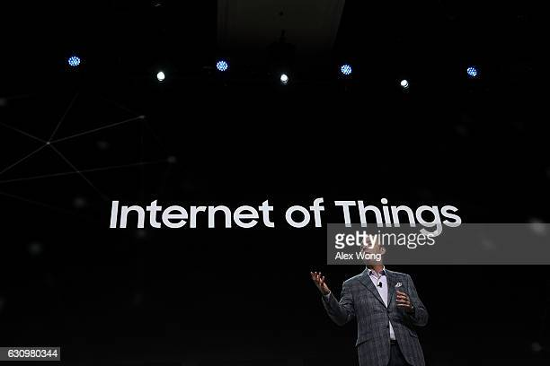Tim Baxter President and Chief Operating Officer of Samsung Electronics America speaks during a press event for CES 2017 at the Mandalay Bay...
