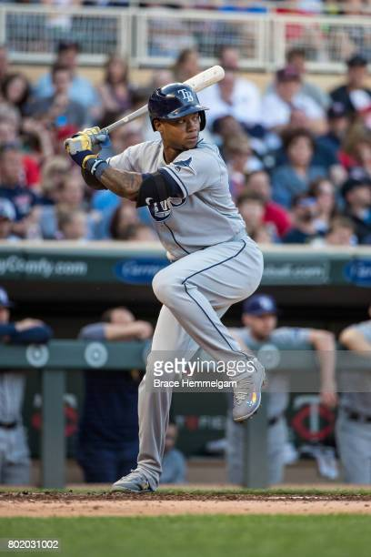 Tim Beckham of the Tampa Bay Rays bats against the Minnesota Twins on May 26 2017 at Target Field in Minneapolis Minnesota The Rays defeated the...