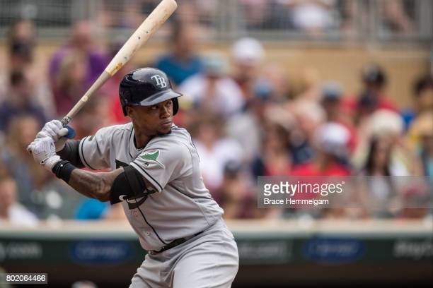 Tim Beckham of the Tampa Bay Rays bats against the Minnesota Twins on May 27 2017 at Target Field in Minneapolis Minnesota The Twins defeated the...