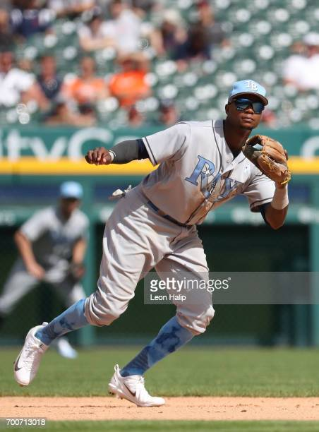 Tim Beckham of the Tampa Bay Rays fields the ground ball during the second inning of the game against the Detroit Tigers on June 18 2017 at Comerica...