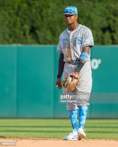Tim Beckham of the Tampa Bay Rays gets set for the pitch in the seventh inning during a MLB game against the Detroit Tigers at Comerica Park on June...