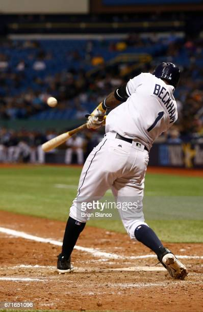 Tim Beckham of the Tampa Bay Rays hits an RBI single to score Logan Morrison during the sixth inning of a game against the Houston Astros on April 22...