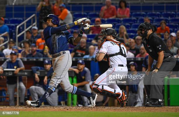 Tim Beckham of the Tampa Bay Rays hits during the game between the Miami Marlins and the Tampa Bay Rays at Marlins Park on May 1 2017 in Miami Florida
