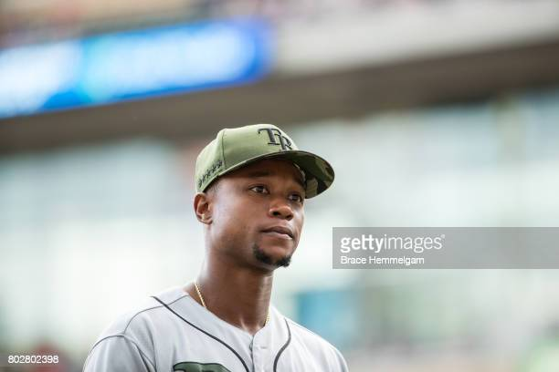Tim Beckham of the Tampa Bay Rays looks on against the Tampa Bay Rays on May 28 2017 at Target Field in Minneapolis Minnesota The Rays defeated the...