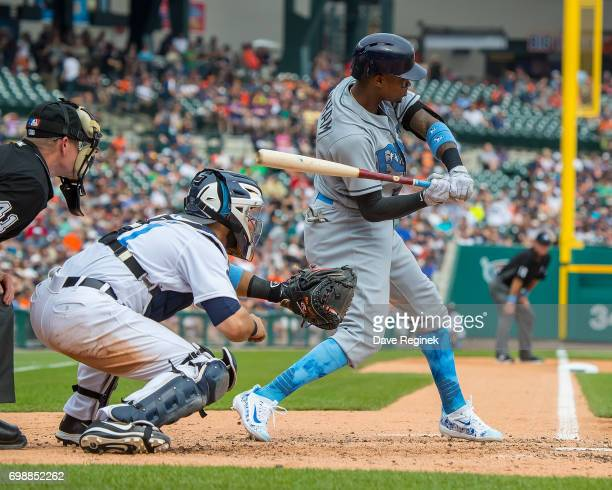 Tim Beckham of the Tampa Bay Rays swings at a pitch in the fifth inning during a MLB game against the Detroit Tigers at Comerica Park on June 17 2017...