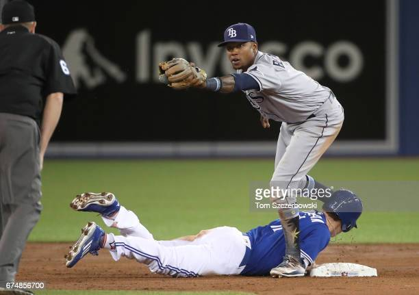 Tim Beckham of the Tampa Bay Rays tags out Chris Coghlan of the Toronto Blue Jays as he is picked off second base to end the second inning during MLB...