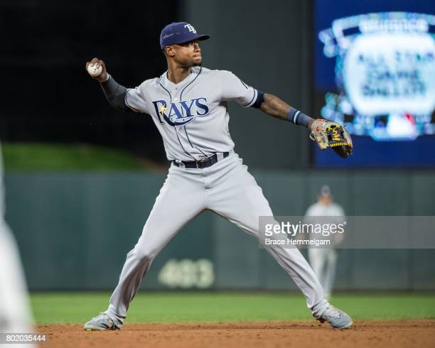 Tim Beckham of the Tampa Bay Rays throws against the Minnesota Twins on May 26 2017 at Target Field in Minneapolis Minnesota The Rays defeated the...