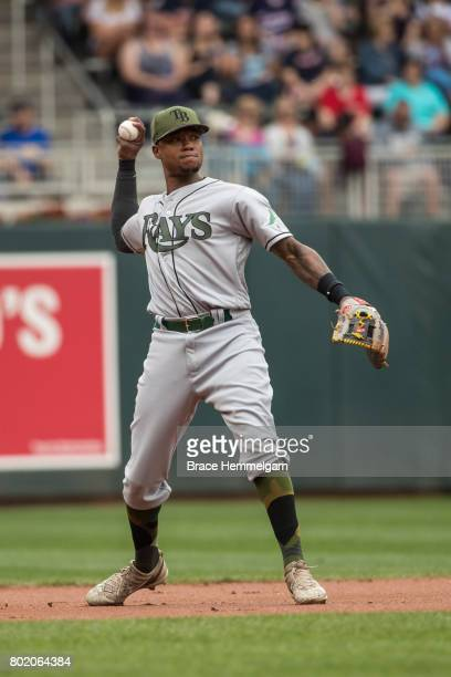 Tim Beckham of the Tampa Bay Rays throws against the Minnesota Twins on May 27 2017 at Target Field in Minneapolis Minnesota The Twins defeated the...