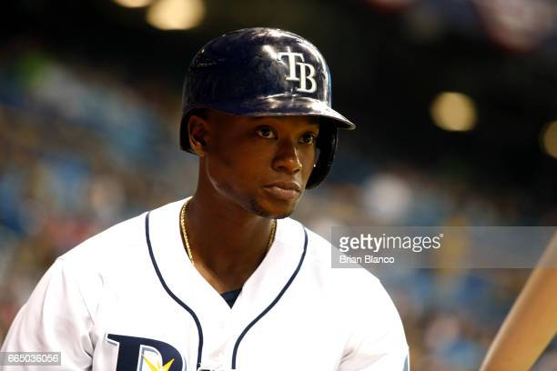 Tim Beckham of the Tampa Bay Rays warms up on deck to bat during the fourth inning of a game against the New York Yankees on April 5 2017 at...