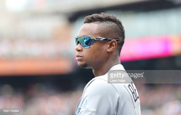 Tim Beckham of the Tampa Bay Rays watches the action from the dugout during the fourth inning of the game against the Detroit Tigers on June 18 2017...
