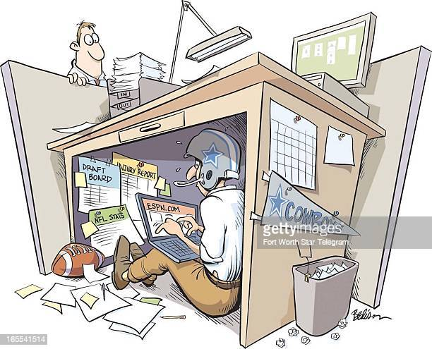 Tim Bedison color illustration of employee hiding under his office desk to play online fantasy football while on the job