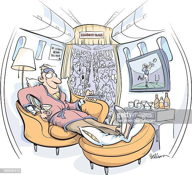 Tim Bedison color illustration of firstclass airline passenger enjoying comfort of easy chair full bar and television while crowded economyclass...
