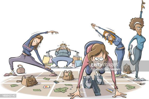 Tim Bedison color illustration of women stretching out and lifting shoppingbag weights as they prepare to sprint to holiday shopping