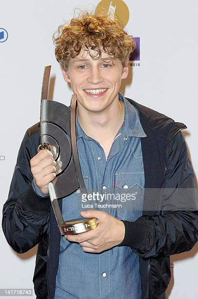Tim Bendzko poses with his award during the Echo award 2012 at Palais am Funkturm on March 22 2012 in Berlin Germany