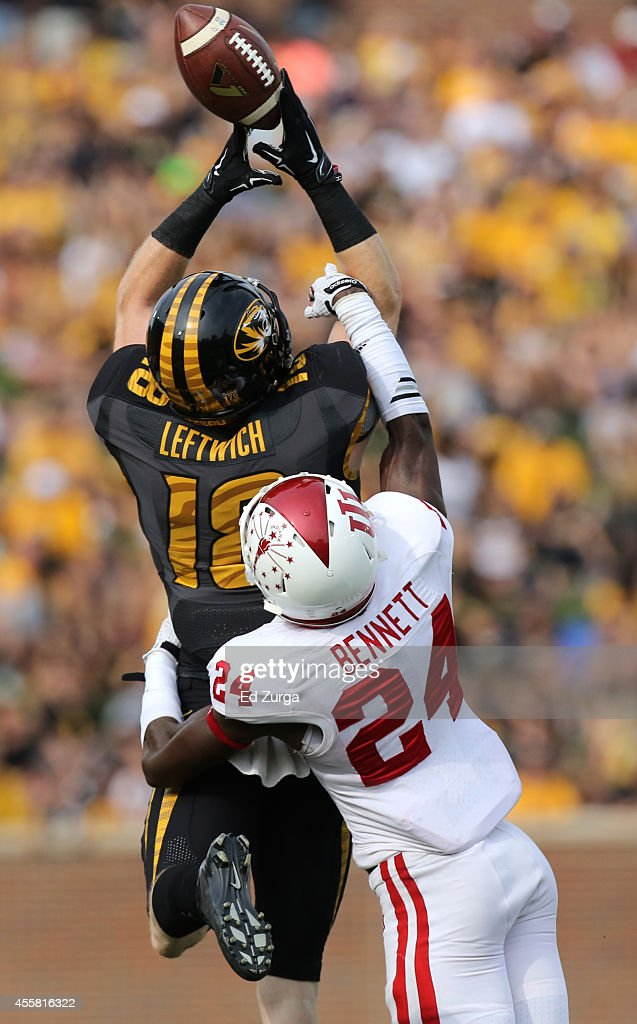 Tim Bennett #24 of the Indiana Hoosiers breaks up a pass intended for Wesley Leftwich #18 of the Missouri Tigers in the second quarter at Memorial Stadium on September 20, 2014 in Columbia, Missouri.