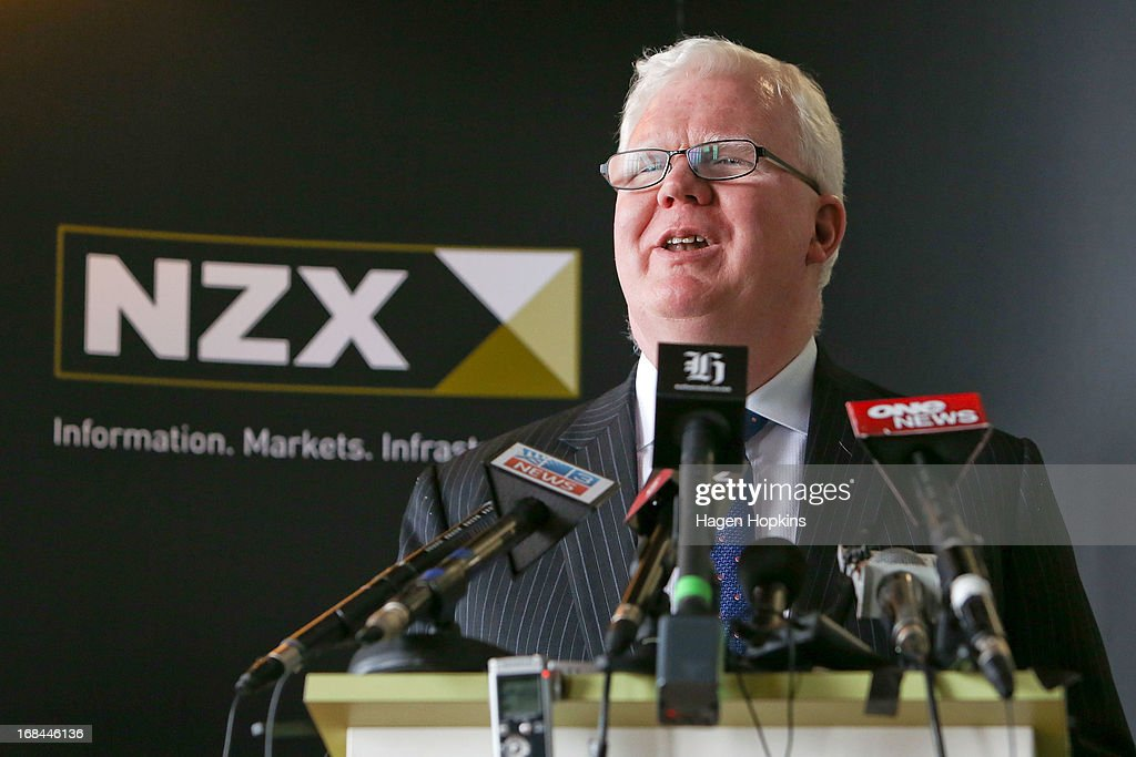 Tim Bennett speaks during the listing of Mighty River Power at NZX on May 10, 2013 in Wellington, New Zealand. Mighty River Power is one of several state owned enterprises being partially sold by the Government to raise capital.
