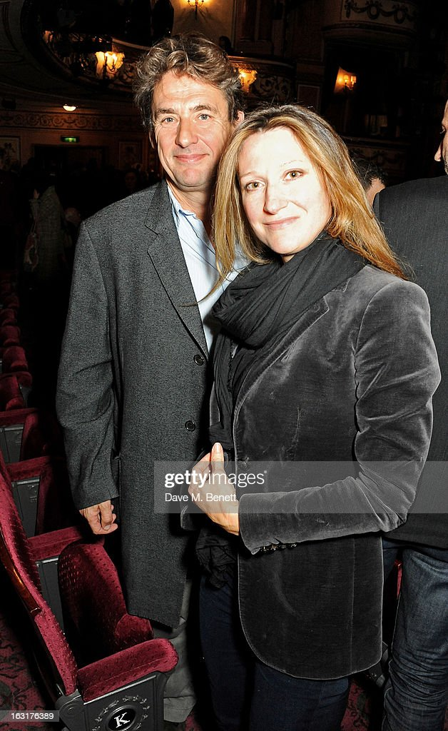 Tim Bevan (L) poses in the theatre following the press night performance of 'The Audience' at the Gielgud Theatre on March 5, 2013 in London, England.