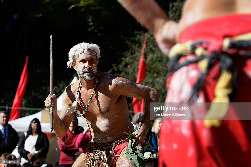 Tim Bishop and Glen Doyle, members of the Wuriniri Dance Group perform during a public NAIDOC celebration at Hyde Park on July 8, 2013 in Sydney, Australia. NAIDOC is a celebration of Aboriginal and Torres Strait Islander cultures and an opportunity to recognise the contributions of Indigenous Australians.