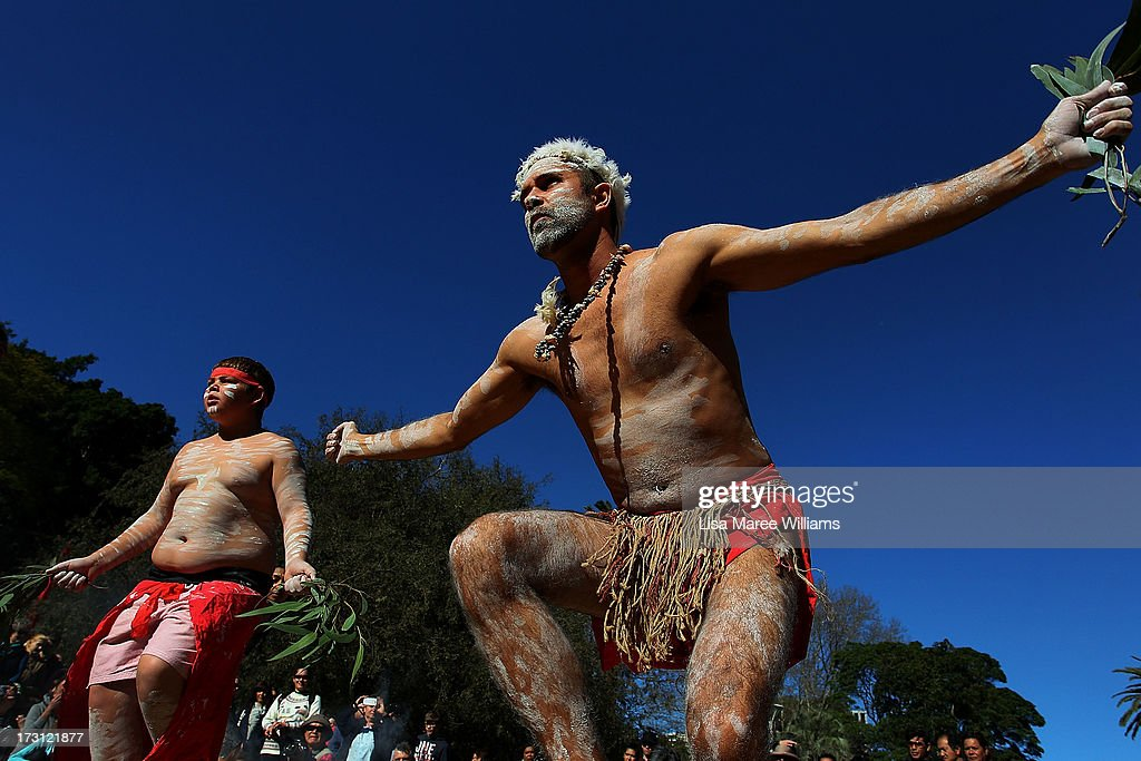 Tim Bishop and Yarraan Doyle, members of the Wuriniri Dance Group perform during a public NAIDOC celebration at Hyde Park on July 8, 2013 in Sydney, Australia. NAIDOC is a celebration of Aboriginal and Torres Strait Islander cultures and an opportunity to recognise the contributions of Indigenous Australians.