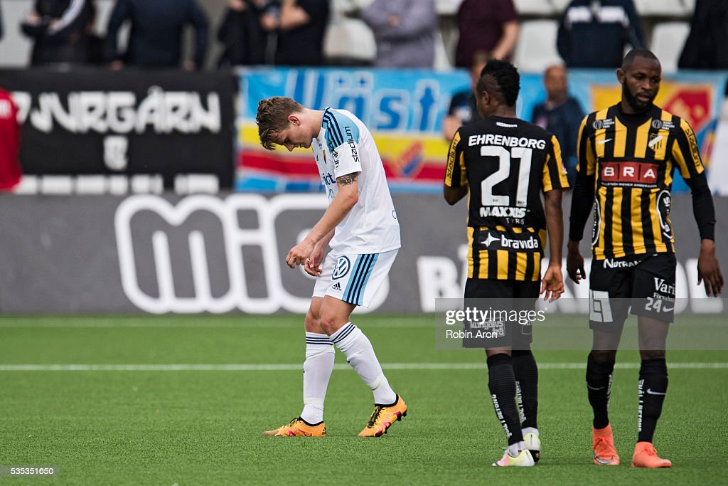 Tim Bjorkstrom of Djurgardens IF dejected next to Nasiru Mohammed and Rene Makondele of BK Hacken after BK Hacken winning the Allsvenskan match between BK Hacken and Djurgardens IF at Bravida Arena on May 29, 2016 in Gothenburg, Sweden.