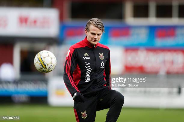 Tim Bjorkstrom of Ostersunds FK during warm up ahead of the Allsvenskan match between Jonkopings Sodra IF and Ostersunds FK at Stadsparksvallen on...