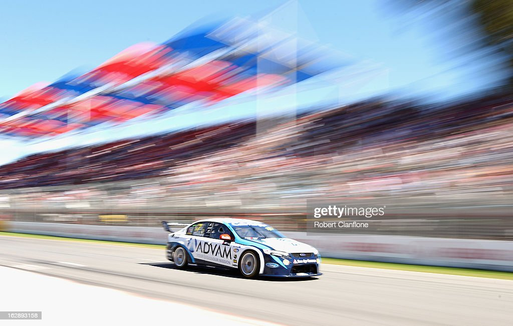Tim Blanchard drives the #17 Dick Johnson Racing Ford during qualifying for the Clipsal 500, which is round one of the V8 Supercar Championship Series, at the Adelaide Street Circuit on March 1, 2013 in Adelaide, Australia.