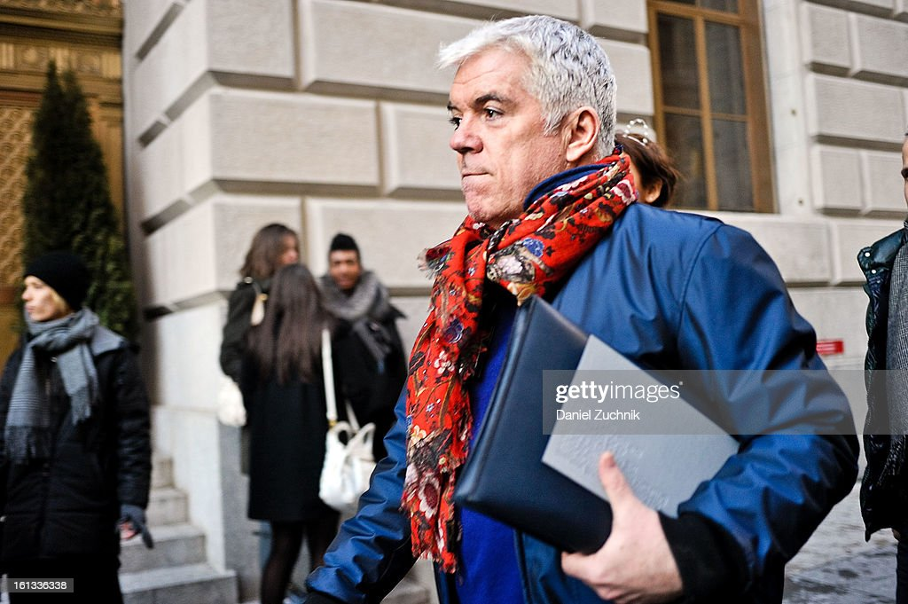 Tim Blanks arrives to the Alexander Wang show on February 9, 2013 in New York City.