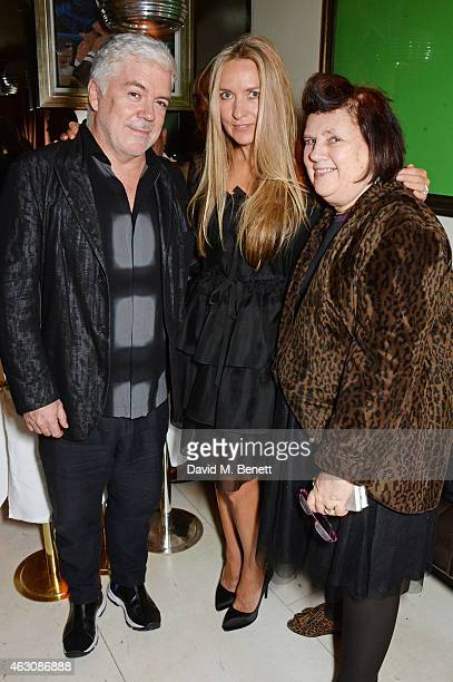 Tim Blanks Collette Dinnigan and Suzy Menkes attend the launch of new book 'Obsessive Creative' by Collette Dinnigan at Mr Chow on February 9 2015 in...