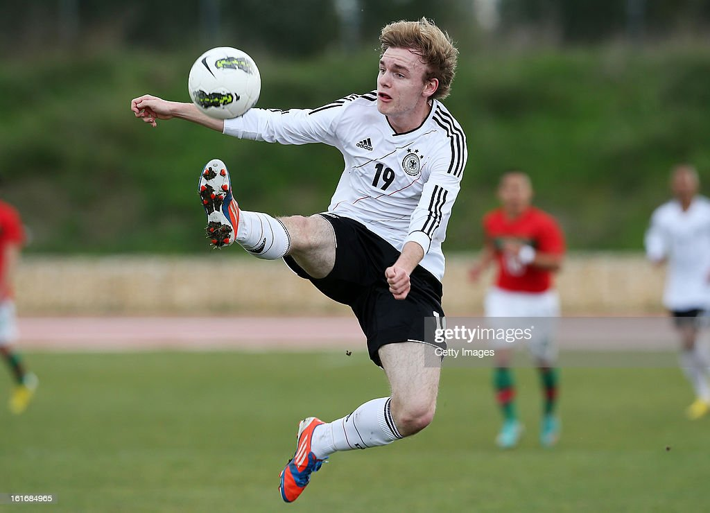 Tim Bodenroder of Germany in action during the Under17 Algarve Youth Cup match between U17 Portugal and U17 Germany at the Stadium Bela Vista on February 12, 2013 in Parchal, Portugal.