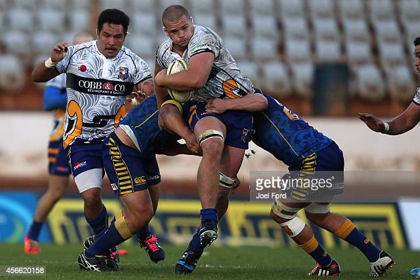 Tim Bond of the Bay of Plenty Steamers is tackled during the ITM Cup match between Bay of Plenty and Otago on October 4 2014 in Mount Maunganui New...