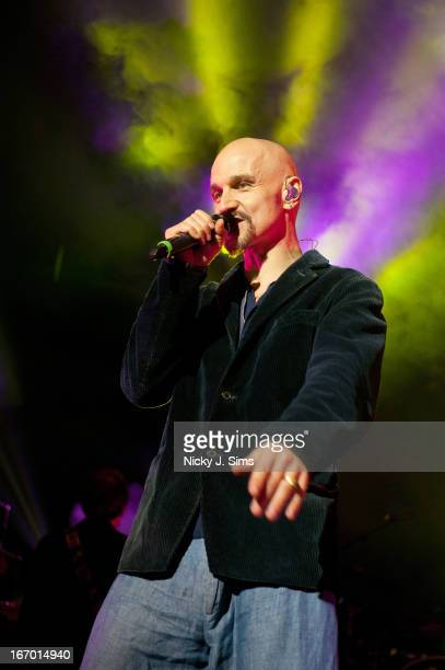 Tim Booth of James performs on stage at Brixton Academy on April 19 2013 in London England