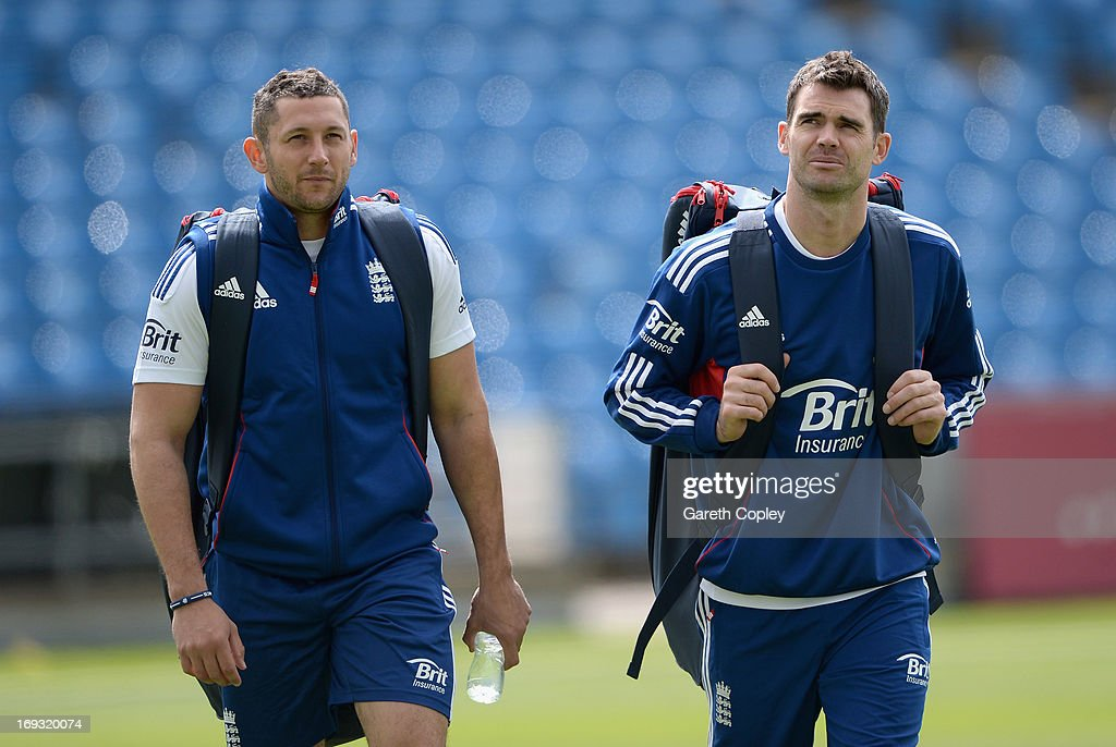 <a gi-track='captionPersonalityLinkClicked' href=/galleries/search?phrase=Tim+Bresnan&family=editorial&specificpeople=571509 ng-click='$event.stopPropagation()'>Tim Bresnan</a> and James Anderson of England walks from the indoor school after a nets session at Headingley on May 23, 2013 in Leeds, England.