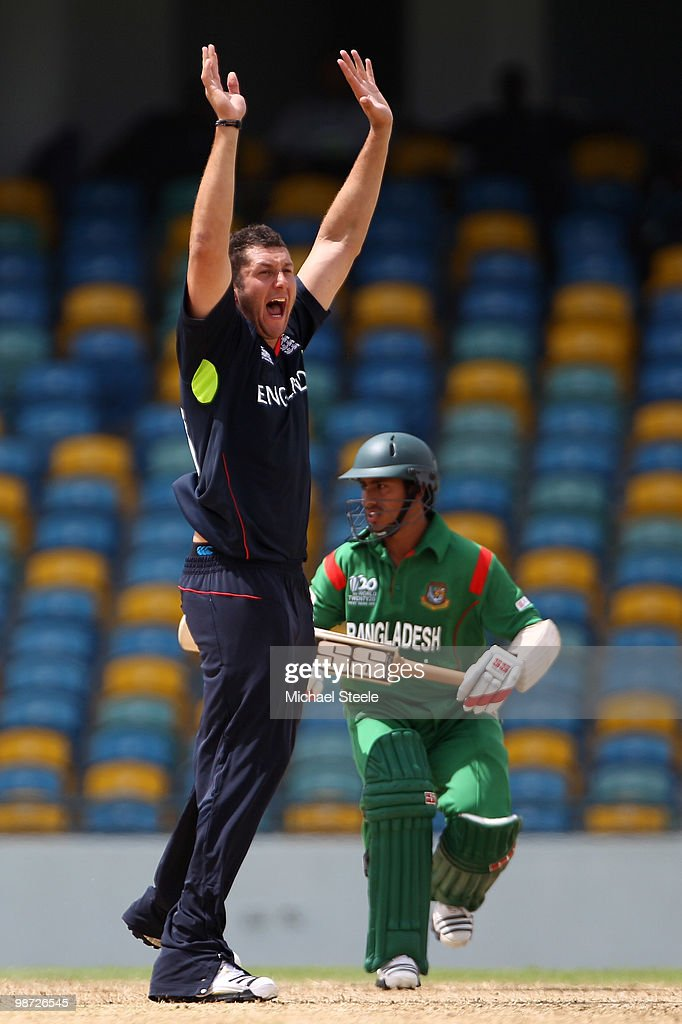 Tim Bresnan of England appeals unsuccessfully for the wicket of Mohammad Ashraful of Bangladesh on April 28 2010 in Bridgetown Barbados