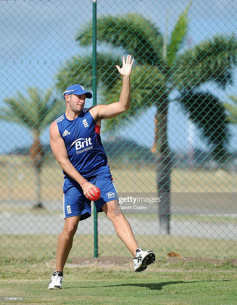 Tim Bresnan of England bowls during a nets session at Sir Viv Richards Cricket Ground on February 24, 2014 in Antigua, Antigua and Barbuda.