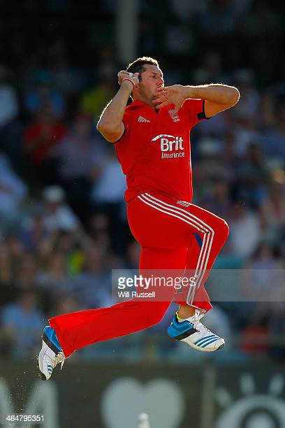 Tim Bresnan of England bowls during game four of the One Day International series between Australia and England at WACA on January 24 2014 in Perth...