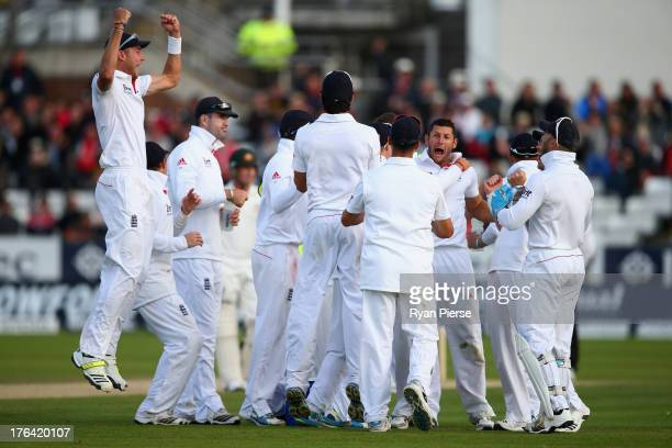 Tim Bresnan of England celebrates after Shane Watson of Australia is given out by the 3rd umpire during day four of 4th Investec Ashes Test match...