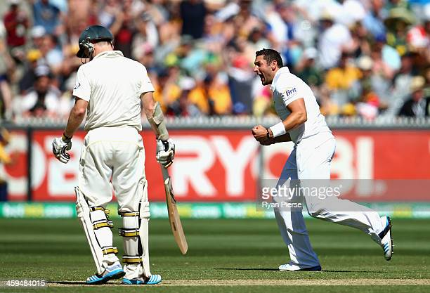 Tim Bresnan of England celebrates after taking the wicket of Chris Rogers of Australia during day two of the Fourth Ashes Test Match between...