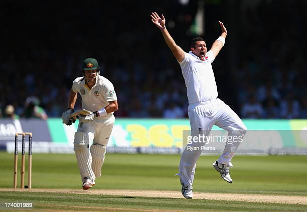 Tim Bresnan of England celebrates after taking the wicket of Shane Watson of Australia during day two of the 2nd Investec Ashes Test match between...