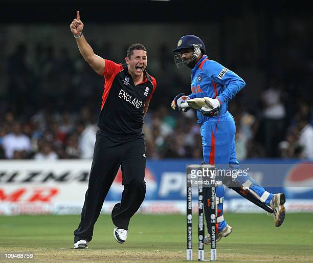 Tim Bresnan of England celebrates after taking the wicket of Harbhajan Singh of India during the 2011 ICC World Cup Group B match between India and...