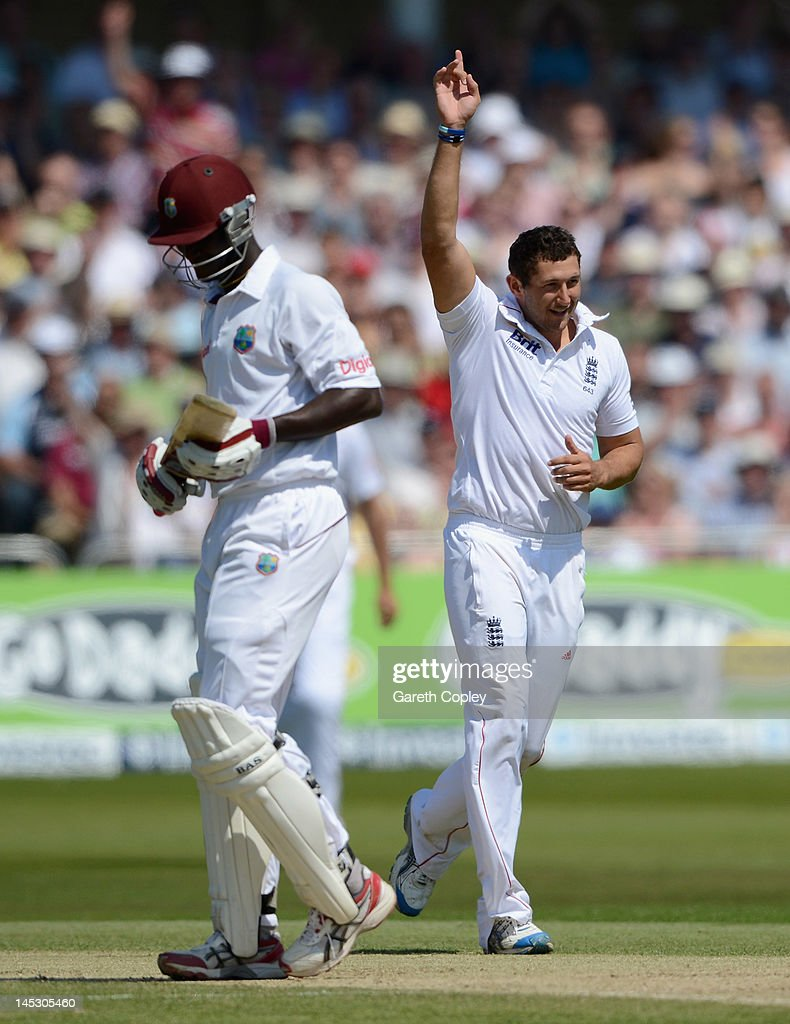 Tim Bresnan of England celebrates dismissing Darren Sammy of the West Indies during day two of the second Test match between England and the West Indies at Trent Bridge on May 26, 2012 in Nottingham, England.
