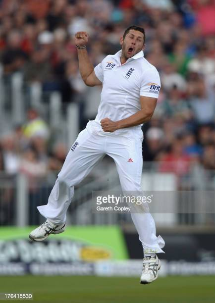 Tim Bresnan of England celebrates dismissing David Warner of Australia during day four of 4th Investec Ashes Test match between England and Australia...