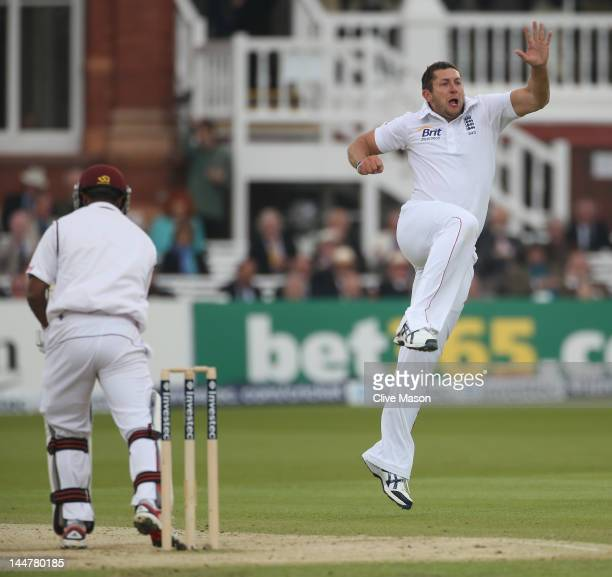 Tim Bresnan of England celebrates the wicket of Adrian Barath of West Indies during day three of the 1st Investec Test Match between England and the...