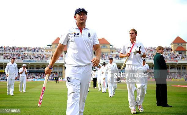 Tim Bresnan of England is applauded off the field after victory in the second npower Test match between England and India at Trent Bridge on August 1...