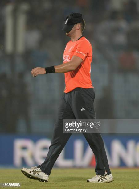 Tim Bresnan of England leaves the field after Sri Lanka's innings during the ICC World Twenty20 Bangladesh 2014 Group 1 match between England and Sri...